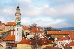 En fabulously härlig sikt av staden av Cesky Krumlov i Tjeckien Favorit- ställe av turister från över hela fotografering för bildbyråer