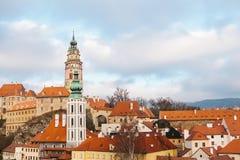 En fabulously härlig sikt av staden av Cesky Krumlov i Tjeckien Favorit- ställe av turister från över hela arkivbild