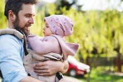 En fader med hans litet barndotter i en behandla som ett barnbärare utanför på en vår går arkivfoton