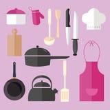 En faisant cuire l'objet réglé d'icône dans le tablier rose de chapeau de chef de cuisine filtrez la fourchette de pot de couteau Photographie stock