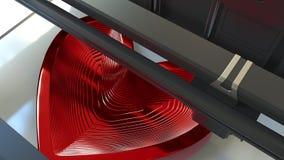 En faisant le coeur rouge formez avec un métal imprimant 3D l'imprimante, le rendu 3D Photo stock