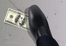 En $ 100 fakturerar, fäst till en krok, förläggas på jordningen för att tilldra en man tilldragande av pengar stock illustrationer