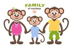 En familj av tre apor - mamma, farsa och son vektor illustrationer