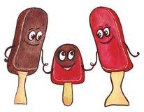 En familj av tre glassar Arkivfoton