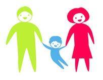 En familj med en unge Arkivfoton
