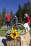 Familj på picknick Fotografering för Bildbyråer