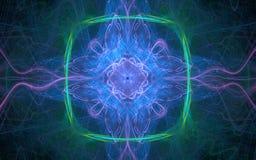 En fantastisk abstrakt bild av energilinjerna av lilan, blått, gräsplan på bakgrunden av en våg av tunna streckade linjer av olik Arkivfoto