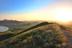 En fantastisk solnedgång, otrolig skönhet Arkivfoto