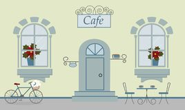 En fasad av kafét, två fönster, dörr, trappa, röda blommor vektor illustrationer