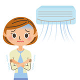 En fattig cirkulation för luftkonditioneringsapparat och för kvinna Arkivfoto