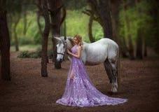 En fe i en lila, den genomskinliga klänningen med ett långt drev - fångade en enhörning Fantastisk magisk strålningshäst Blondin royaltyfri foto