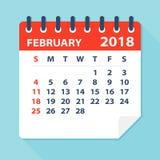 En febrero de 2018 hoja del calendario - ejemplo ilustración del vector