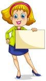 En fet affärskvinna som rymmer en tom signage Arkivfoto