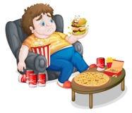 En fet pojke framme av lotter av foods royaltyfri illustrationer