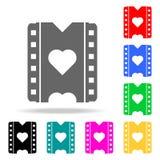 en film med en hjärtasymbol Beståndsdelar av romans i mång- kulöra symboler Högvärdig kvalitets- symbol för grafisk design Enkel  royaltyfri illustrationer