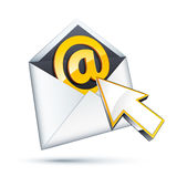 En firme adentro la letra con el cursor Fotos de archivo libres de regalías