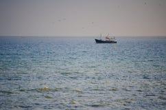 En fiskebåt i havet som omges av fiskmåsar i aftonen Royaltyfri Fotografi
