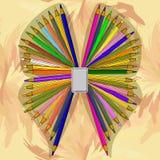 En fjäril från blyertspennorna Arkivfoto