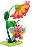 En fjäril som vinkar nedanför den jätte- blomman Arkivfoton