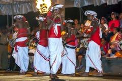 En flöjtspelare utför längs gatorna av Kandy under Esalaen Perahera i Sri Lanka Arkivbild