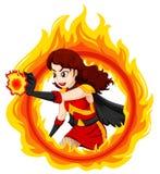 En flammande kvinnlig superhero Fotografering för Bildbyråer