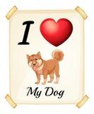 En flashcard som visar förälskelsen av en hund Royaltyfri Bild