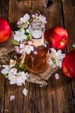 En flaska av äppelcidervinäger (äppeljuice), nya äpplen och Apple-träd blommor på en träbakgrund Royaltyfria Foton