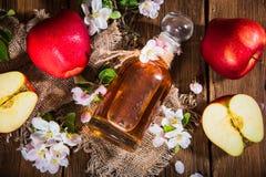En flaska av äppelcidervinäger (äppeljuice), nya äpplen och Apple-träd blommor på en träbakgrund Arkivbild