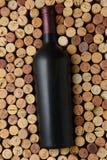 En flaska av cabernet - sauvignon omgav av korkar som står på slutet som fyller ramen royaltyfri foto
