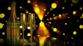 En flaska av Champagne eller vin med två exponeringsglas Romantisk nattplats Datum för två royaltyfri illustrationer
