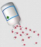 En flaska av medicin på genomskinlig bakgrund vektor illustrationer