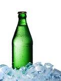 En flaska av mineralvatten med is Fotografering för Bildbyråer