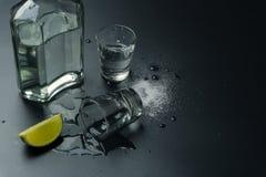 En flaska av silvertequila med tequilaen sk?t exponeringsglas fotografering för bildbyråer
