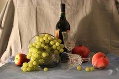 En flaska av vin och frukt Fotografering för Bildbyråer