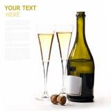 En flaska av vin på en vit bakgrund med två exponeringsglas royaltyfria bilder