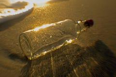 En flaska sköljas upp på stranden på Dania Beach, Florida arkivbilder