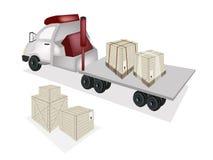 En Flatbed för traktorsläp som laddar träspjällådor Royaltyfri Fotografi