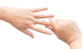 En fléchissant le muscle en main pour guérissez le syndrom de bureau sur le fond d'isolement Image libre de droits