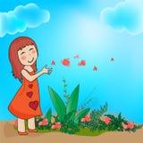 En flicka är lycklig i natur Fotografering för Bildbyråer