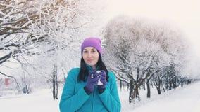 En flicka dricker från en råna ett varmt te av kaffe, i en härlig vinter parkerar Arkivfoto