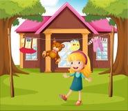 En flicka framme av deras hus stock illustrationer