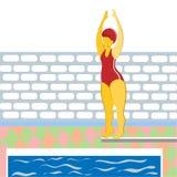 En flicka i en baddräkt som hoppar från en språngbräda in i pölen Illustration i plan stil royaltyfri foto