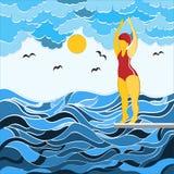En flicka i en baddräkt som hoppar från en språngbräda in i vattnet Illustration, i att klottra stil och abstraktion arkivfoto