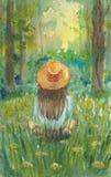 En flicka i en hatt sitter på en äng och blickar på skogen royaltyfri illustrationer