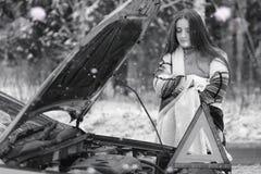 En flicka i en molnig dag för vinter royaltyfri fotografi