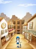 En flicka i staden Arkivbild