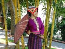 En flicka i traditionell laotisk klänning i Luang Prabang Arkivbild