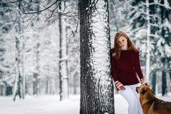 En flicka i vita fl?sanden f?r Bourgogne en tr?ja och st?r luta mot ett tr?d n?ra den r?da hunden under den snowcovered skogen arkivbilder