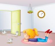 En flicka inom ett rum med katter royaltyfri illustrationer
