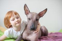 En flicka kramar hennes hund royaltyfri foto